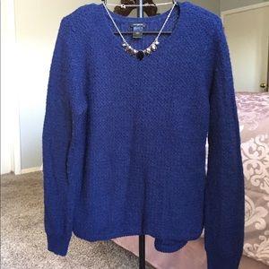 Ann Taylor Knit Sweater Navy Blue L